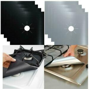 4 Reusable Gas Range Stove Hob Protector Liner Non Stock Cooker Cover Black