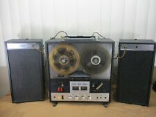 Vtg Sharp Reel to Reel Stereo Tape Recorder Model RS-730U w/ Attached Speakers