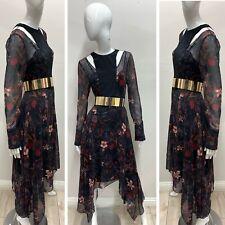 NWT BCBG MAXAZRIA Women's Multicolor Floral Cut Out Asymmetrical Dress Size S