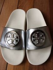 NIB Tory Burch Lina Silver Metallic Slide Sandals Size 6