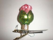 DARK PINK CLIP-ON ROSEBUD OLD WORLD CHRISTMAS GLASS FLOWER ORNAMENT NWT 36158