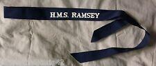 Original British Royal Navy HMS Ramsey Cap Tally - Genuine Issue