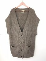 Ralph Lauren Polo Jeans Co Cosy Wool Alpaca Long Cardigan Taupe XL 16/18 UK