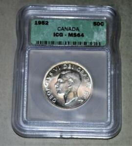 Canada 1952 50 Cents Silver Coin - Certified by ICG MS 64