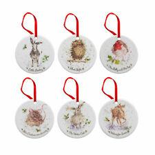Royal Worcester Wrendale Christmas Tree Decorations Set of 6 Xmas Animals Gift