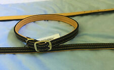 "23"" Inch Dark Brown Leather Collar With Brass Hardware & Deer Skin Lined"