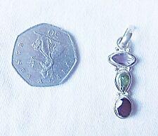 Exquisito Colgante Plata 925 Gota Amatista Peridot Granate triple con enlace