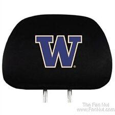 Washington Huskies 2-pack Black Auto Head Rest Covers Headrest University of