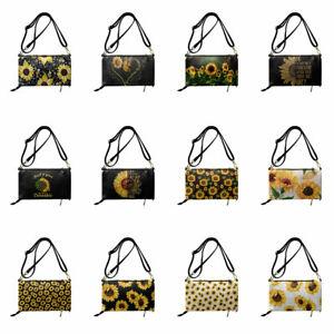 Sunflowers Leather Women Messenger Bag Casual Shoulder Bag Multi-Purpose Purse