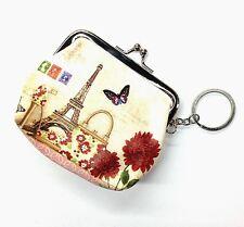 Coin Purse w/Key Ring -Paris Theme w/Eiffel Tower, Purse, Shoe, Stamps, Flowers