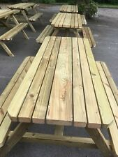 Large Wooden Picnic bench set,Heavy Duty,Assembled, 4ft / 5ft / 6ft,Tanalised.