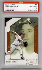 2002 Flair #8 Greg MADDUX - PSA 8+++ HOF Braves (only one higher)