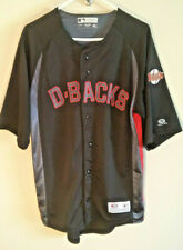 Arizona Diamond Backs size M black red jersey shirt button front baseball sports