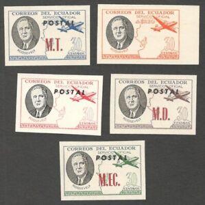 AOP Ecuador unissued Roosevelt stamps MNH (5)