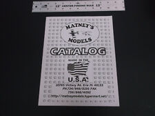 VINTAGE MATNEY'S R/C MODEL AIRPLANE CATALOG - JETT ENGINE BROCHURE *VG-COND*