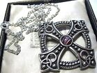 VINTAGE DESIGN SIGNED MIRACLE JEWELLERY CELTIC PURPLE AGATE PENDANT NECKLACE NEW