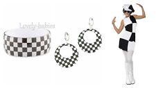 1960S Girl Black and White GoGo Fancy Accessories Hoop Earrings Bangles Bracelet