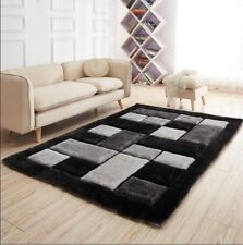 Luxurious Thick Pile Rug Modern Soft Silky Contemporary Shaggy Rugs Mats UK Black Silver Grey Bricks 90x150cm (3x5')