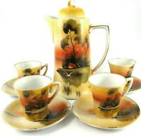 Chocolate Pot w 4 Cups & Saucers 10 pieces Goose House Trees Hand Painted Orange