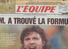 journal  l'equipe 09/02/93 FOOTBALL MARSEILLE RUGBY ECOSSE FRANCE SARAJEVO