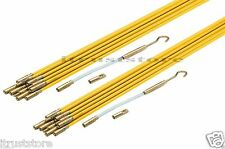 Fiberglass Wire Cable Running Rods Kit Fish Tape Electrical Coaxial Puller 2 Set