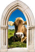 Sticker mural trompe l'oeil Arche déco vache réf 888