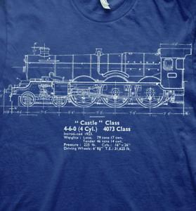 Live steam castle class model plans trains GWR t shirt
