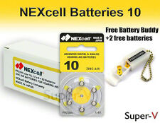 60 NEXcell Hearing Aid Batteries Size 10 + Free Keychain/2 Extra Batteries