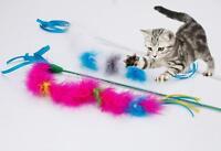 Kitten Pet Play Toys Length Interactive Fun Toy Cat Catcher Teaser Wand Feather
