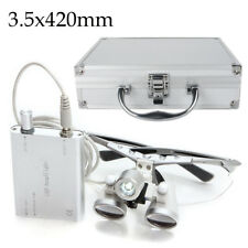 Dental Loupes 3.5X 420mm Surgical Medical LED Head Light Lamp Aluminum Case Box