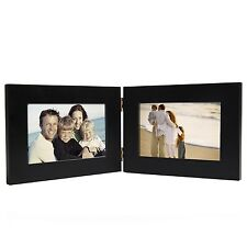 "Adeco 2-Opening 4x6"" Black Wood Hinged Table Desk Top Picture PhotoFrames"