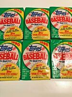 Six (6) Factory Sealed 1990  TOPPS Baseball Packs  FROM FRESH BOX
