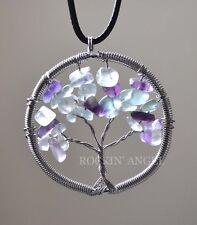 Fluorite Crystal Quartz Gemstones Tree Of Life Pendant Necklace Reiki Healing