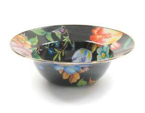 "MacKenzie-Childs Flower Market Enamel Serving Bowl - Black 12"" dia./ 40 oz."