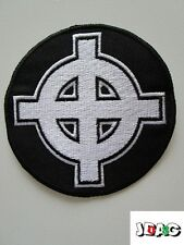 PATCH ECUSSON CROIX CELTIQUE BLANC NOIR FRANCE - CELTIC CROSS - PATRIOTISM 8 CM