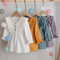 1-5Y Toddler Kids Baby Girls Party Solid Linen Ruffles Long Sleeve Dress Clothes