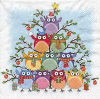4 Motivservietten Servietten Napkins Tovaglioli Weihnachten Eulen (1012)