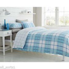 Doble cama edredón de plumas Blanco Tartan impresión plazas comprobado Aqua líneas Azul