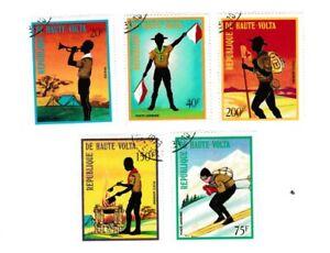 Haute Volta Lot 5 timbres et 1 bloc les scouts - scoutisme