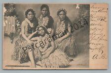 Hawaiian Dancing Girls—Antique UDB Hawaii Hula Pretty Woman Early 1907
