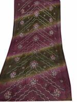 Om Vintage Dupatta Georgette Hand Embroidered Purple Stole Veil Scarves W-1441