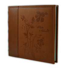 "Photo Album, Holds 200 4""x6"" pictures, 2 per page, Faux Leather, P52028-6 Brown"