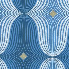 BLUE MID-CENTURY MODERN Geometric Wallpaper 1970s  designed Minimalist