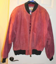 Men's Burgundy Euro Mode IOU Leather Collection Jacket Size XL Quilted Lining