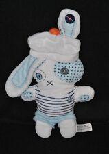Peluche doudou lapin marin TAO Tape à l'oeil bleu blanc ancre croix 27 cm TTBE