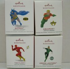 Hallmark Justice League The Flash,Batman,Green Lantern, Aquaman Mini Ornaments