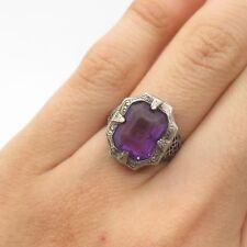 Antq 925 Sterling Silver Real Amethyst Gemstone Art Deco Handmade Ring Size 6.5