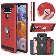 For LG K51/LG Reflect Case Ring Holder Stand Shockproof Hybrid Hard Phone Cover