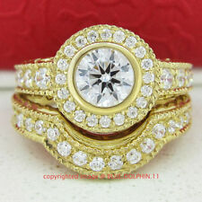 Gold Diamond Halo Fine Rings