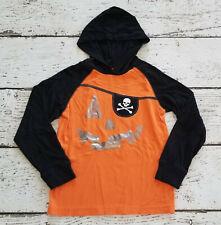 GYMBOREE Boys Orange Pumpkin Skull Halloween Hooded Tee 8 EUC